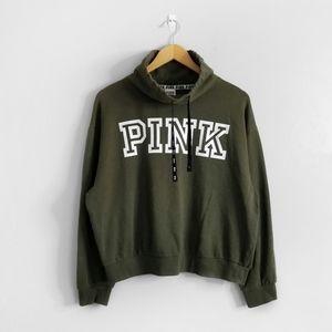 VS PINK Green Logo Funnel Neck Sweatshirt